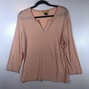 St. John L Pink Knit Y-Neckline Career Top Blouse